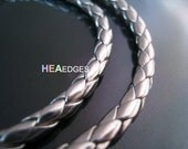 2 Yards of 4mm Cyber Silver Round Braided Leather Like Cord
