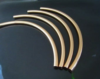 Curved Tube Beads - Finding 1pc Rose Gold Plated Very Long Brass Curve Arc Tubes Bead 155mm x 6mm ( Inside 5mm Diameter )