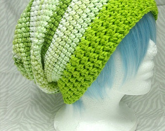 Lime Stripes Cotton Slouchy Hat
