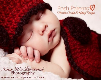 Crochet PATTERN for Ladybug Hat and Shell Set, Baby Crochet Pattern, Crochet Ladybug Pattern, Newborn Photo Prop Pattern,  PDF 194