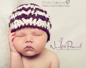 Crochet PATTERN - Crochet Baby Hat Pattern - Ripple Crochet Patterns - Crochet Patterns for Babies - 4 Sizes Newborn to Adult - PDF 213