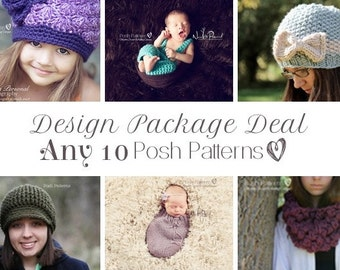Crochet Patterns - Knitting Patterns - Discount Design Package - Choose ANY 10 - Knitting Pattern Hat - Crochet Patterns Baby