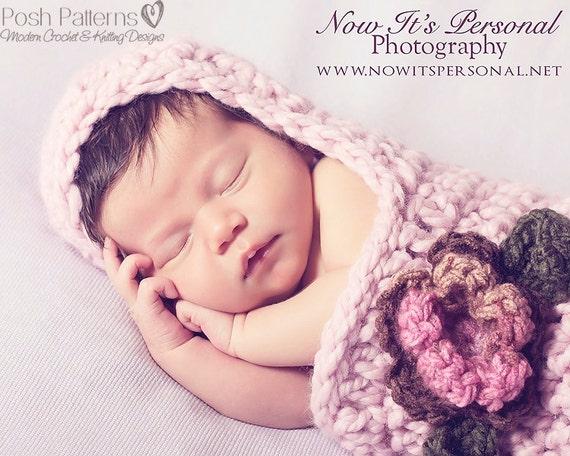 Crochet PATTERN Newborn Hooded Cocoon Pattern Crochet