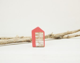 Little House Brooch Coral Brooch House Pin Minimal Jewelry Made to Order