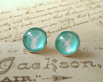 20% OFF -- Tiffany Blue Mint color Reindeer Christmas Cabochon earring stud, Blue earring,cute gift,Glass earring stud
