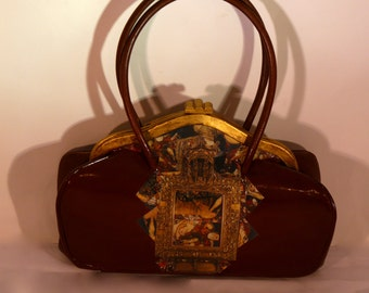 """Leather french vintage couture  brown  handbag """"L'ÉPOUSÉE""""unique piece  retro chic art bag steampunk bag french  touch"""