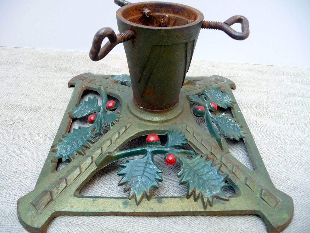Vintage christmas tree stand green feather by