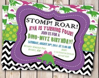 Girly Dinosaur Invitation Girl Dinosaur Birthday Party Dino Dig Dino-mite Birthday Invitation Customizable 5x7
