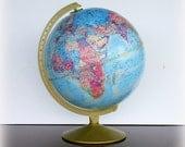 VINTAGE TRAVEL - Mid Century World Globe - Repogle World Motion Series - 12 Inch Blue Rotating Axis Globe - Vintage Desk Accessories