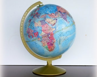 VINTAGE TRAVEL - Mid Century World Globe - Repogle World Motion Series - 12 Inch Blue Rotating Axis Globe - Vintage Desk Accessories