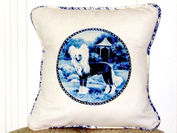 """shabby chic, feed sack, french country, Chinese Crested dog graphic with toile welting 14"""" x 14"""" pillow sham."""