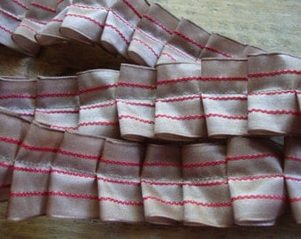 French Country Taupe and Red Stripe Handmade Ruffle Ribbon Trim