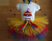 Circus Tent Themed Birthday Personalized Number Shirt and tutu