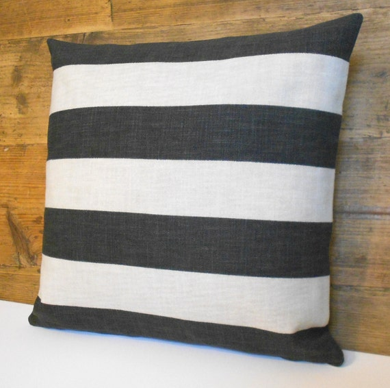 Black and beige striped decorative throw pillow by pillowflightpdx