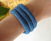 Fabric Bracelet - Dark Blue Denim Cuff