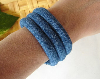 Fabric Bracelet - Dark Blue Denim Cuff