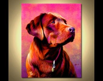 Chocolate Labrador Portrait | Custom Chocolate Labrador Portrait | Chocolate Painting From Your Photos | Chocolate Lab Art by Iain McDonald