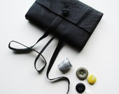 Knotted Up-Black-Leather Journal-Mini-Pocket Size-Handmade-Gift Idea