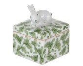 Vintage Andrea by Sadek Green Ceramic Bunny Box