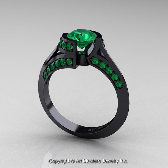 Modern French 14K Black Gold 1 0 Ct Emerald Engagement Ring