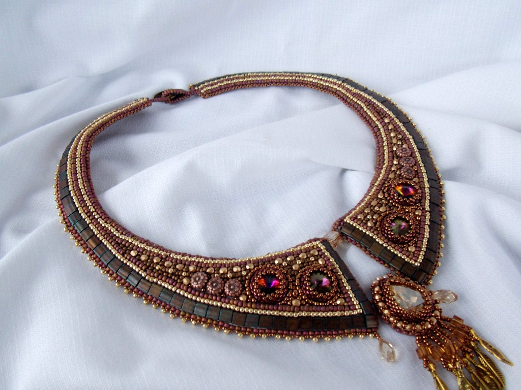 Bead embroidery collar necklace statement jewelry hestia