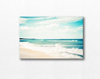 ocean photography canvas art beach canvas wrap 12x12 24x36 fine art photography large canvas print teal wall art nautical decor waves canvas