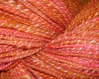 Handspun. Alpaca, Merino Hand Dyed and Spun, 2 ply, Mango, Papaya and Orange Sherbert, 410 yards.