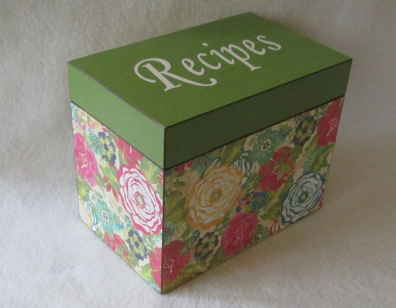 Recipe Box - Floral - Green - Hot Pink - Blue - Cream  Wooden Personalized Recipe Box - Keepsake - Wedding Gift - Shower Gift