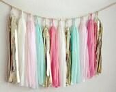 Coral, Mint, and Gold Tassel Garland - Fringe Garland - Weddings - Bridal Shower - Nursery - Wedding Bunting - Banner