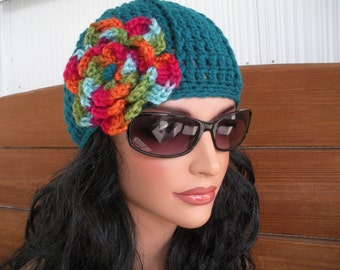 Crochet Hats Women's Hat Winter Fashion Accessories Womens Beanies Winter Hats in Teal with Multicolor Crochet Flower