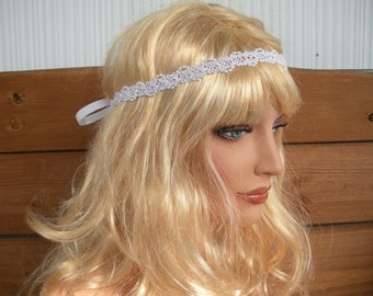 Wedding Headband Brides Headband Headpiece Bridal Accessories Wedding Hair Accessory in White Beaded Lace Trim