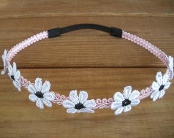 Womens Headband Boho Headband Hippie Headpiece Accessories Women Forehead Headband in Light pink with White Diasies