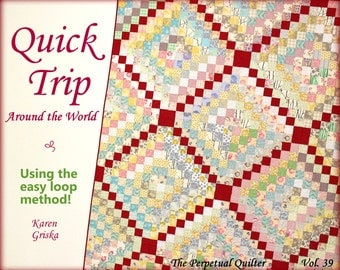 Quilt Pattern, Trip Around the World Quilt, Easy Quilt Pattern, Twin Quilt, Instant Download Quilt Pattern, qtm