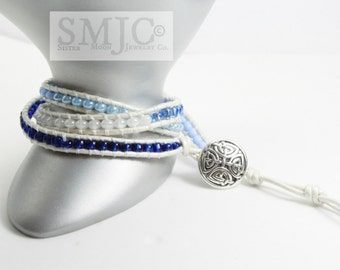 Blue Ombre Peal Leather Triple Wrap Bracelet Seed Bead Stacked Celtic Button