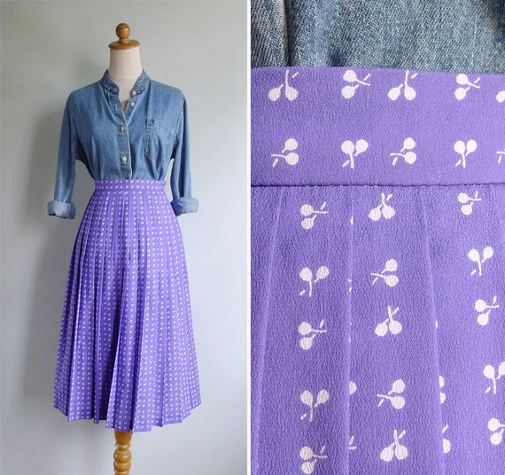 Vintage 80's Purple Racquet Print Pleated Skirt XS or S