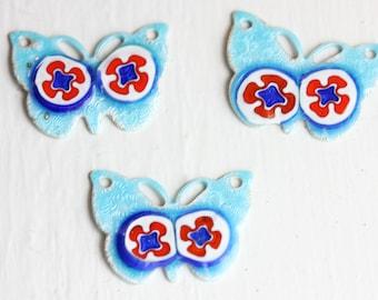Blue Enamel Butterfly Charms (3x)