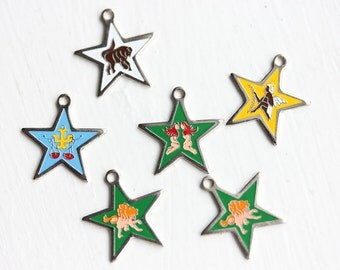 Vintage Star Astrology Charms (6x)