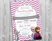Frozen Birthday Invitation | Printable Frozen Party Invite with Elsa, Anna and Olaf | Purple Chevron Teal Grey
