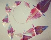 Floral Chiyo Origami Crane Spiral Mobile