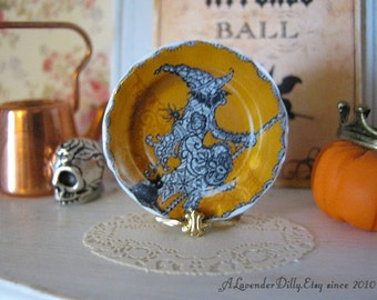 Scary Witch Dollhouse Halloween Plate
