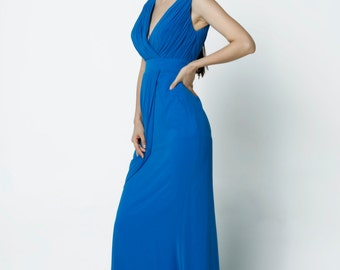 Blue Wedding dress/Silk Chiffon party dress/ bridesmaid dress/Prom/ handmade/ floor length formal dress - NC519