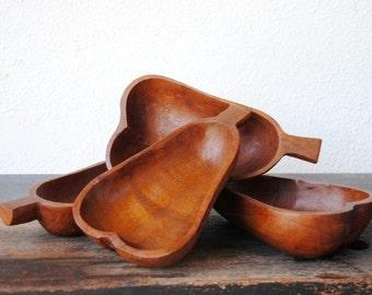 Vintage Teak Wood Bowls, Hand Carved Pear Shaped, Mid Century Decor Serving, Set of Four (4)