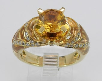 REDUCED Citrine and Diamond Engagement Ring One Of A Kind 18K Yellow Gold Size 6.5