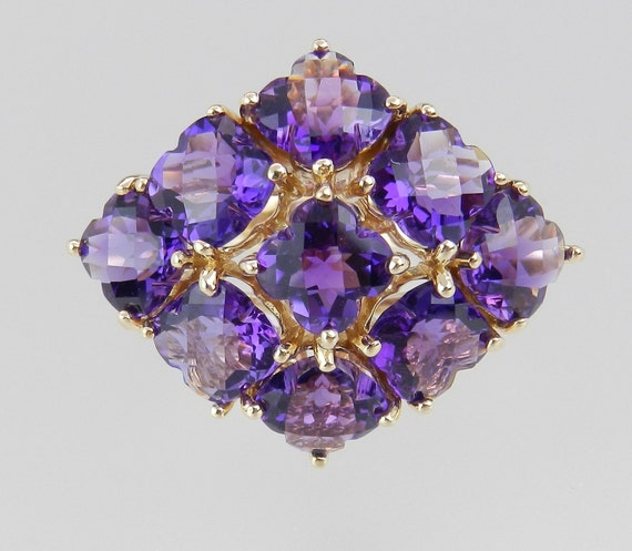 Amethyst Ring Statement Cluster Ring Purple 14K Yellow Gold Size 8 Clover Shape Design