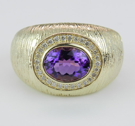 Diamond and Amethyst Textured Right Hand Statement Ring 14K Yellow Gold Size 7.5