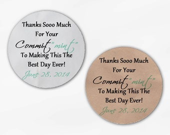 "Commit ""Mint"" Wedding Favor Stickers - Custom Thank You Commitment Candy Buffet White Or Kraft Round Labels for Bag Seals, Envelopes (2014)"
