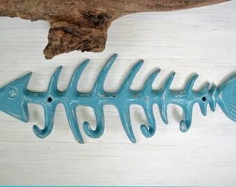 "13.5"" Fish Bone Cast iron hook, Coat hook, Towel Hook,Tropical Nautical decor"