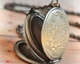 Silver Locket Necklace SHIPS TOMORROW Antiqued Locket Pendant Necklace Jewelry Gift Antique Locket Necklace Holiday Gift Limonbijoux