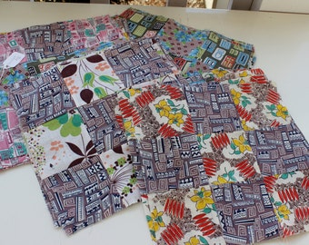 REDUCED 34 Feed sack Fabric Quilt Squares or Block Coordinating Colors and Patterns