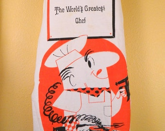 Midcentury Vintage World's Greatest Chef BBQ Apron